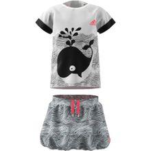 ADIDAS PERFORMANCE Baby Sommer Set: T-Shirt + Rock für Mädchen grau / weiß