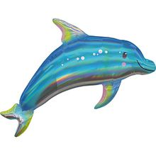 Holographic SuperShape Iridescent Blue Dolphin Folienballon P40 verpackt 73cm x 68cm