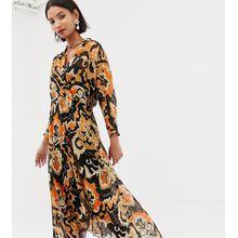 Mango - Buntes Wickelkleid mit Print - Mehrfarbig