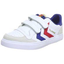 Hummel STADIL JR LEATHER LOW, Unisex-Kinder Sneakers, Weiß (White/Blue/Red/Gum), 36 EU (3.5 Kinder UK)