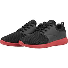 Urban Classics Damen und Herren Light Runner Shoe, Low-Top Sneaker für Damen und Herren, Sportschuhe mit Schnürung, Schwarz/Fire Red, Größe 43