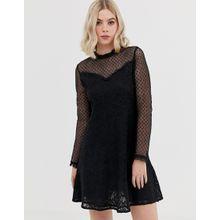 Brave Soul - Skaterkleid aus gepunktetem Netzstoff - Schwarz
