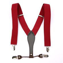 UTOVME Herren Damen Y-Form Hosentraeger mit hochwertiger Leder 4 Clips Vintage Stil in Geschenkkarton Weinrot