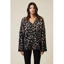 Stella McCartney Oversize Pullover mit Leoparden-Print Schwarz/Grau