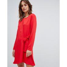 Vila - Rotes Minikleid mit Wickeldesign und Knoten vorn - Rot