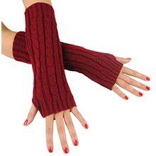 Immerschön Gestrickte Armstulpen zum Lagenlook, fingerlos, Damen Accessory, weinrot, one size