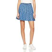 Tommy Jeans Hilfiger Denim Damen Rock Thdw Print Skirt 28B, Blau (Chambray Paisley/Phana Print 901), 36 (Herstellergröße: S)