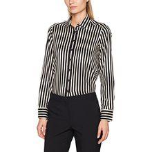 eterna Damen Bluse Comfort Fit Langarm Braun Bedruckt mit Hemd-Kragen, Braun (Braun 29), 36