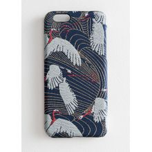 Crane Jacquard iPhone Case - Blue