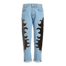 Moschino Verzierte Straight Leg Jeans mit Patches