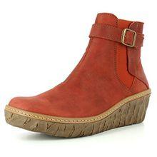 El Naturalista N5133 Myth Yggdrasil Komfortabler Damen Chelsea Boot, Stiefelette, Schlupfstiefel, perfekte Passform durch Gummizug, Keilabsatz, Wedge Absatz Rot (Caldera), EU 37