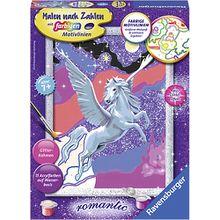 Malen nach Zahlen, 18x24 cm, mit farbigen Motivlinien & Glittereffekt, Stolzer Pegasus