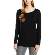 ONLY Damen Langarmshirt Onlmila Lacy L/s Long Pullover KNT, Einfarbig, Gr. 34 (Herstellergröße: XS), Schwarz