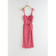 Tie Shoulder Gingham Midi Dress - Red