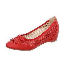 Ital-Design Keilpumps Damen-Schuhe Keilpumps Keilabsatz/Wedge Keilabsatz Pumps Rot, Gr 37, Od-17-