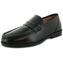 Business Class Herren/Herren schwarz breite Passform Leder Slipper - schwarz - UK Größen 6-12 - Schwarz, 43