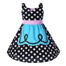 Pettigirl Mädchen Prinzessin Kleider Polka Punkt SchickAnkleiden Halloween Party Dirndl Kleider 5 Jahre