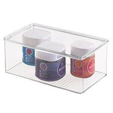 mDesign Aufbewahrungsbox mit Deckel - praktische verschließbare Acrylbox mit Deckel für die perfekte Ordnung im Badezimmer oder auch als Ordnungsbox im ganzen Haushalt - transparent