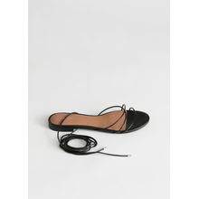 Leather Lace Up Sandals - Black