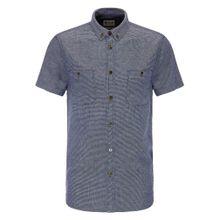 MUSTANG Hemd dunkelblau / weiß