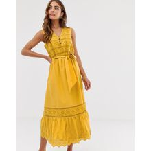 Esprit - Gelbes Midikleid mit Lochstickerei und Taillenband - Gelb
