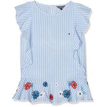 Tommy Hilfiger Mädchen Bluse Quirky Stripe Ruffle Top Slvls, Blau (Serenity 413), 122 (Herstellergröße: 7)