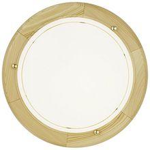 EGLO 3890 A++ to E, Wand-/Deckenleuchte, Holz, E27, Kiefer/Weiß, 31 x 31 x 9 cm