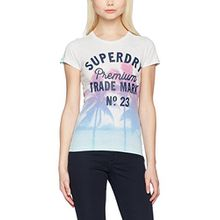 Superdry Damen Photographic Entry T-Shirt, Grau (Ice Marl), 44 (Herstellergröße: X-Large)
