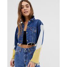 Levi's - Kurze Jeansjacke mit Farbblockdesign - Blau