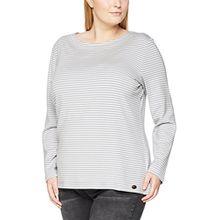 SAMOON Damen Langarmshirt T-Shirt 1/1 Arm, Mehrfarbig (Grizzle Grey Streifen 2012), 46
