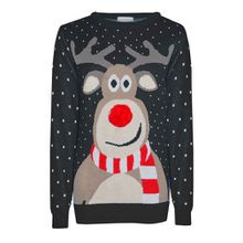 Herren Damen Retro Weihnachten Rudolf Rentier Pom Pom Nase Neuheit Winter Pullover Sweatshirt - Schwarz, Damen, M