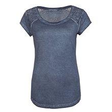 Fresh Made Damen Shirt mit Spitze Einfarbig | Frauen T-Shirt Uni mit Spitzeneinsatz und Rundhals-Ausschnitt Middle-blue1 XS