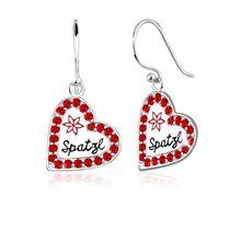 Elli Ohrringe Herz Spatzl Swarovski® Kristalle 925 Silber Ohrringe rot Damen
