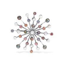 Bottega Veneta - Oxidierte Silberfarbene Brosche Mit Cubic-zirkonia-steinen Und Perlen - one size