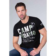 CAMP DAVID T-Shirt mit Label-Applikationen in Used-Optik T-Shirts schwarz Herren