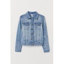 H & M - Bestickte Jeansjacke - Blue - Kinder