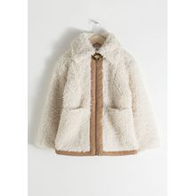 Faux Shearling Workwear Jacket - White