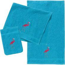 myToys Frottierset, 2 Handtücher & 1 Waschlappen, Flamingo, türkis blau