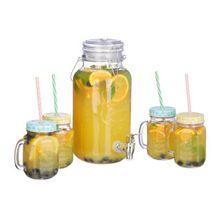 Getränkespender mit 4 Gläsern transparent