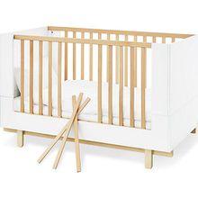 Sparset Boks, breit, 2-tlg. (Kinderbett 70 x 140 cm und breite Wickelkommode), weiß lackiert, Ahorn Nachbildung