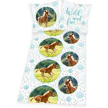 Wende-Kinderbettwäsche Pferde, Renforcé, 80 x 80 cm + 135 x 200 cm