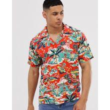 Polo Ralph Lauren - Kurzärmliges Hawaiihemd in Rot mit Surf-Print und Taschen - Rot