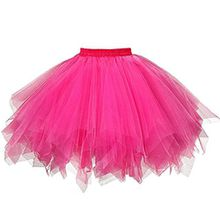 Damen Tutu Rock Tüllrock Kurz Rockabilly Kleid Petticoat Kleider Fasching Elegant (One Size, Rosa)