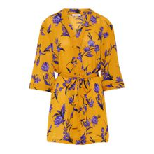 PIECES Kimono ocker / dunkelgelb / helllila
