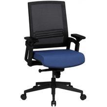 Bürostuhl mit  5-Punkt-Synchronmechanik, höhenverstellbar, mit Rollen blau