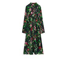 Floral Hammered-Satin Dress - Black