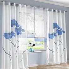 Souarts Blau Stickerei Transparent Gardine Vorhang Schlaufenschal Deko für Wohnzimmer Schlafzimmer Studierzimmer 150cmx145cm Nur Ein Schlaufenschal Ohne Raffgardinen