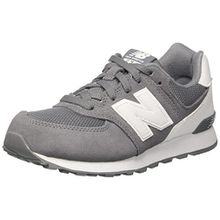 New Balance Unisex-Kinder Sneaker, Mehrfarbig (Grey/White), 33.5 EU (1.5 UK)