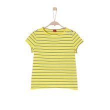 S.Oliver Junior Gestreiftes Crew Neck-Shirt neongelb / schwarz / weiß