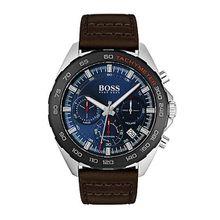 Uhr aus Edelstahl mit schwarzem Tachymeter und braunem Lederarmband